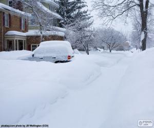 Puzle Úplně sněžilo ulice