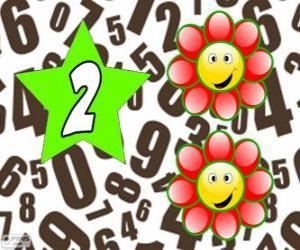 Puzle Číslo 2 hvězdy se dvěma květy