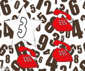 Puzle Číslo 3 hvězdy se třemi telefony