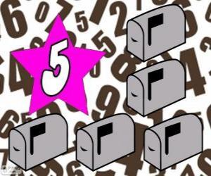 Puzle Číslo 5 hvězdy s pěti-mailových schránek
