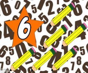 Puzle Číslo 6 v hvězda se šesti tužky
