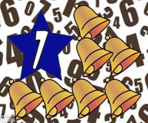Puzle Číslo 7 uvnitř hvězdy se sedmi zvony