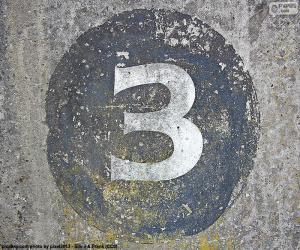 Puzle Číslo tři bílé