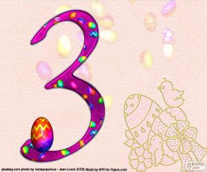 Puzle Číslo tři Velikonoce