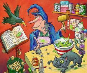 Puzle Čarodějnice připravují magický nápoj s podivným přísady