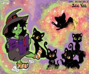 Puzle Čarodějnice s jejich černé kočky