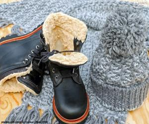 Puzle Černé zimní boty