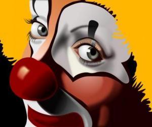 Puzle Červená čichal klaun tvář