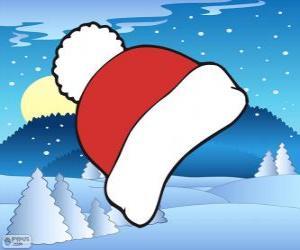 Puzle Červená a bílá zimní čepice