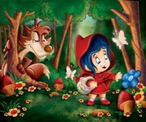 Puzle Červená Karkulka v lese s vlkem skryté mezi stromy