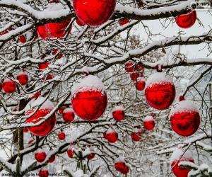 Puzle Červené vánoční koule