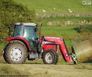 Puzle Červený traktor