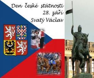 Puzle Český národní den. 28. září svatého Václava, patrona Česká republika