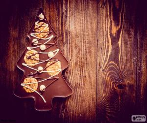 Puzle Čokoládové vánoční strom