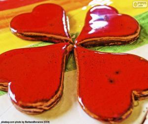 Puzle Čtvrtá červená srdce