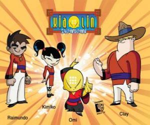 Puzle Čtyři bojovníci Xiaolin: Raimundo, Kimiko, Omi a Clay