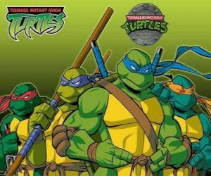 Puzle Čtyři Ninja Turtles: Leonardo, Michelangelo, Donatello a Raphael. Želvy Ninja, TMNT