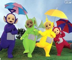 Puzle Čtyři Teletubbies s deštníky otevřené