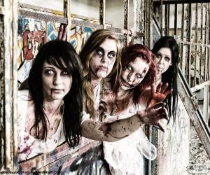 Puzle Čtyři zombie Halloween