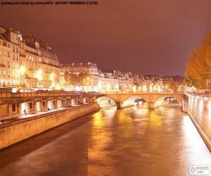 Puzle Řeky Seiny v noci, Paříž