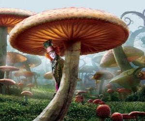 Puzle Šílený kloboučník (Johnny Depp), skrytý pod hub