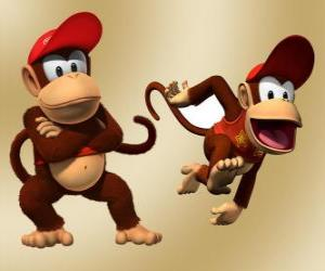 Puzle Šimpanz Diddy Kong, charakter v videohře Donkey Kong