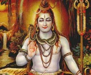 Puzle Šiva - ničitel Bůh Trimurti, hindské trojice