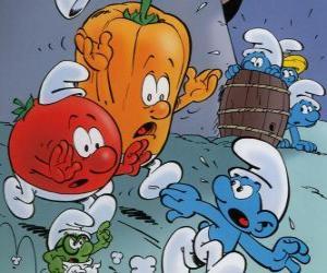 Puzle Šmoula je sledován rajčat a papriky