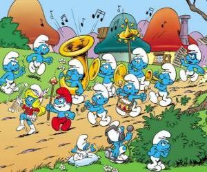 Puzle Šmoulové jsou kapely