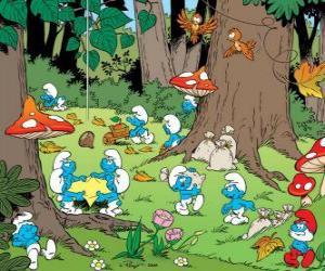 Puzle Šmoulové práci v lese, sběr potravy