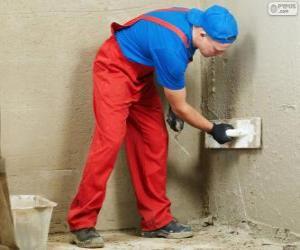 Puzle Štukatér pracuje na obklady zdí