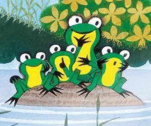 Puzle Žáby na kámen ve vodě