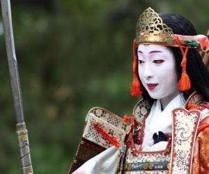 Puzle Žena samuraj, válečník žena s katana