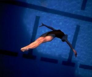 Puzle Ženské potápěč skok vpřed