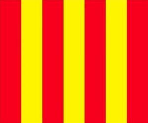 Puzle Žlutá vlajka s červenými pruhy varovat řidiče, že trať je kluzká