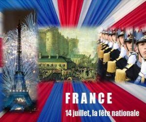 Puzle 14. července francouzský státní svátek připomínající útok Bastille dne 14.července 1789