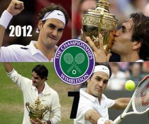 Puzle 2012 Wimbledon šampion Roger Federer