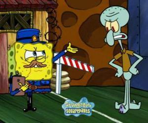 Puzle SpongeBob oblečený jako policista žádá o povolení k Squidward Chapadla