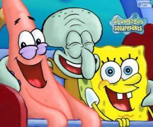 Puzle SpongeBob SquarePants a jeho přátelé a Patrick Star a Squidward Tentacles
