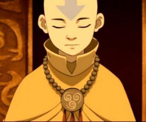 Puzle Aang je 12 let starý chlapec, který strávil 100 roky zmrazené v ledovém s jeho létající Bison