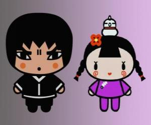 Puzle Abyo a Ching, Pucca přítel s ní slepice Gwon a Garu přítel
