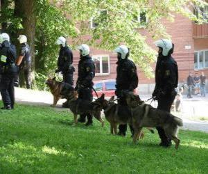 Puzle Agenti pořádkové policie se psy