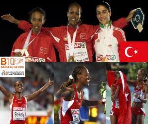 Puzle Alemitu 5000 m šampion Bekele, Elvan Abeylegesse a Sara Moreira (2. a 3.) z Mistrovství Evropy v atletice Barcelona 2010