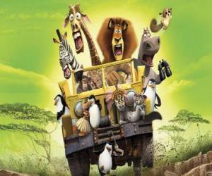 Puzle Alex lev jízdy džípem se svými přáteli Gloria, Melman, Marty a dalších protagonistů dobrodružství