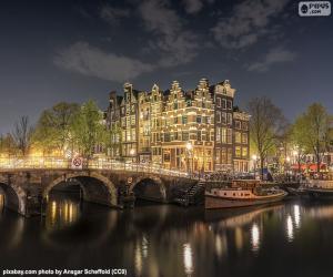 Puzle Amsterdam v noci, Nizozemsko