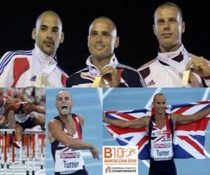 Puzle Andy Turner 110 m překážek šampion, Garfield Darien a Daniel Kiss (2. a 3.) z Mistrovství Evropy v atletice Barcelona 2010