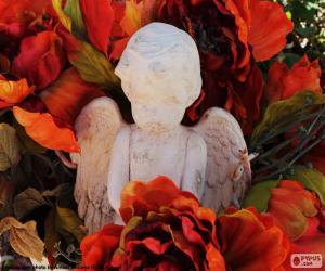 Puzle Angel mezi květy