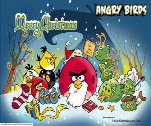 Puzle Angry Birds kteří chtějí vám Veselé Vánoce