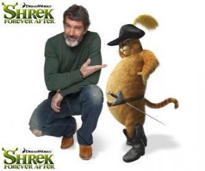 Puzle Antonio Banderas poskytuje hlas Kocour v botách v poslední film Shrek Forever Po