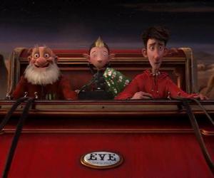 Puzle Arthur Christmas, Grand-Santa i Przestęp na starym sanki gotowego do dystrybucji ostatniego Dar